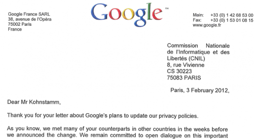 GoogleLetter1 520x286 Heres Googles extensive response to EU requests to pause its privacy policy updates
