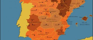 detailed vector map of spain with all departaments and capitols