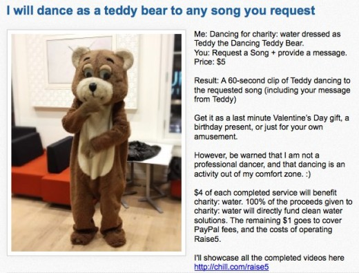 Raise5 I will dance as a teddy bear to any song you request for 5 dollars 520x395 Co founder of charity fundraising site Raise5 will dance in a bear suit for your Valentine