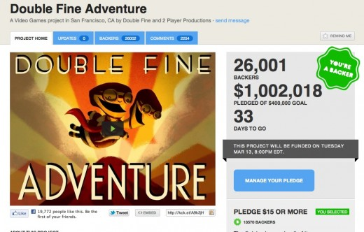Screen Shot 2012 02 09 at 3.47.46 PM 520x332 Legendary Double Fine studios officially joins Kickstarters $1M club in under 24 hours