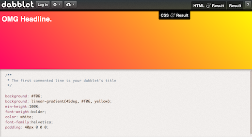 Screen Shot 2012 02 15 at 8.15.43 PM Dabblet is an interactive playground for quickly testing CSS & HTML code