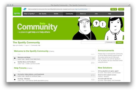 Screen Shot 2012 02 15 at 9.31.57 AM Spotify launches a Community site. Is it pulling away from GetSatisfaction?