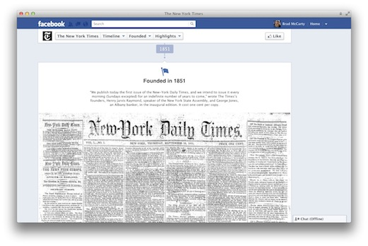 Screen Shot 2012 02 29 at 8.42.50 AM Manchester United, The NY Times and others load their Facebook Timelines with 100+ years of history