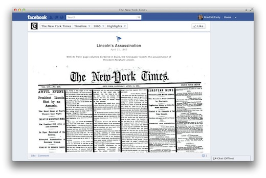 Screen Shot 2012 02 29 at 8.45.14 AM Manchester United, The NY Times and others load their Facebook Timelines with 100+ years of history