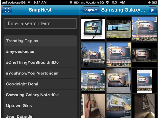SnapNest1 iOS app SnapNest gives users access to realtime Twitter image search on the go