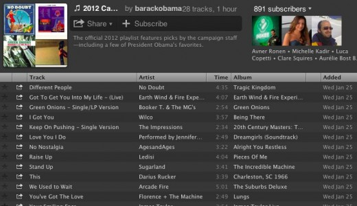 Spotify 2 520x300 President Barack Obama joins Spotify, shares his 2012 campaign playlist