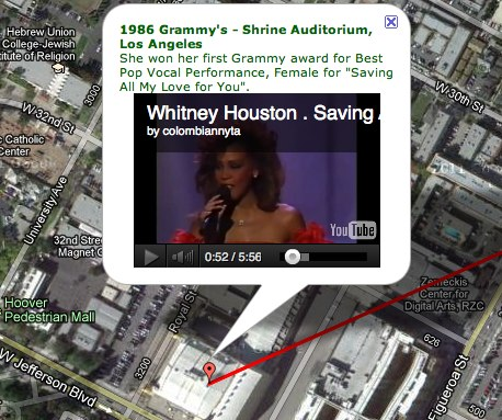 Whitney Houston s Journey This classy mashup lets you follow Whitney Houstons career geographically