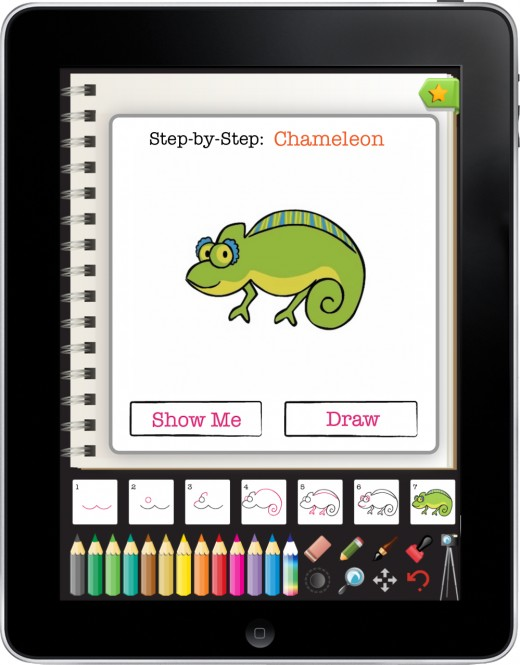 chameleon with ipad frame 520x665 The future of childrens books arrives on the iPad: Everything Butt Art