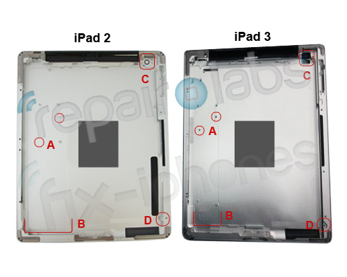 ipad3 vs ipad2 both This photo suggests that the iPad 3 will come with a larger battery