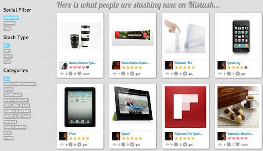 mistash Mistash: Pinterest for your product lust