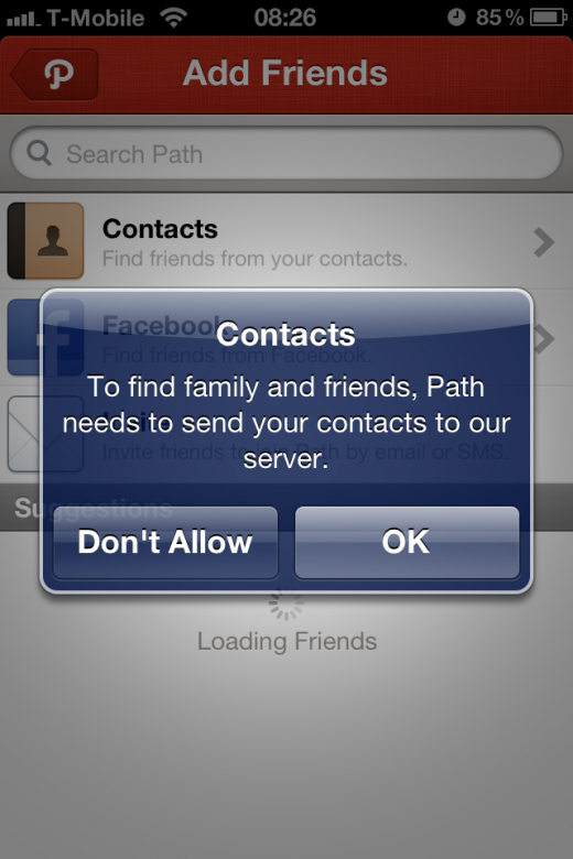 photo 25 520x780 Following Paths contact fiasco, Instagram silently adds a contact list access prompt