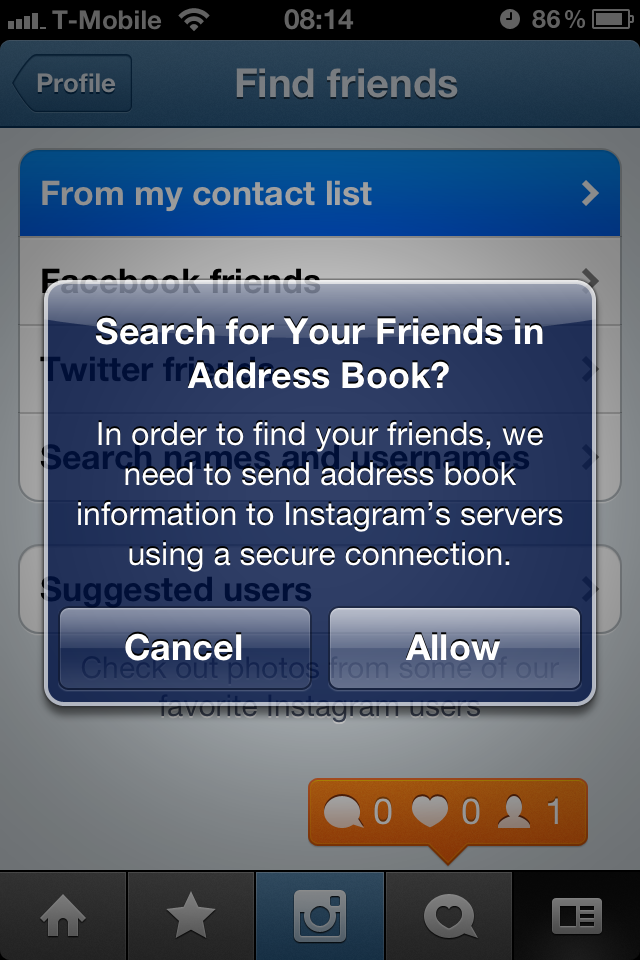 find friends iphone without them knowing instagram now prompts you to contacts 18406