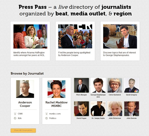 presspass screenshot copy Looking for coverage? Press Pass, a Twitter powered journalist directory may be the answer