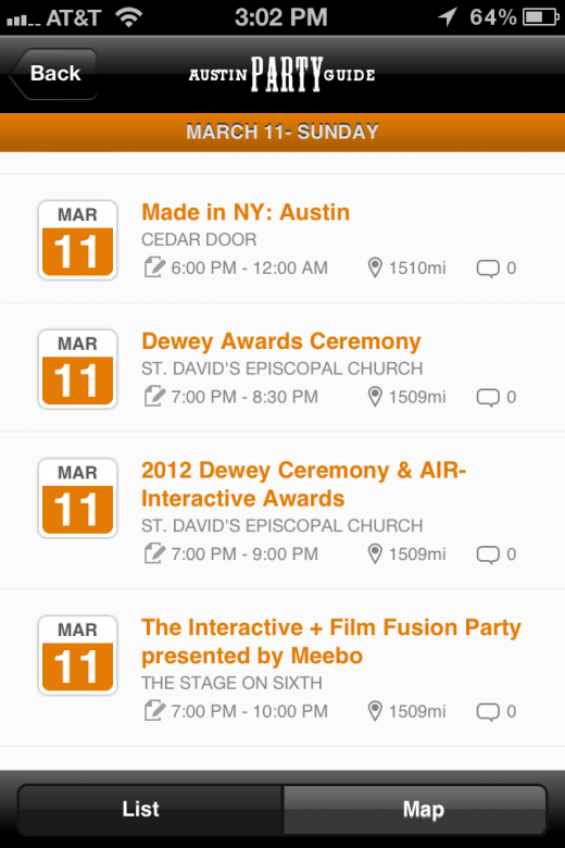 4 520x780 Try this: Austin Party Guide   SXSW Edition iPhone app