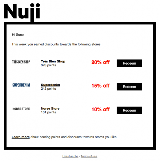 5 Rewards Email 520x524 Nuji repositions itself as 'Pinterest with rewards', retailers queue up [Invites]
