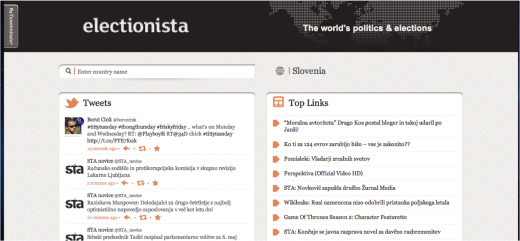 Home 520x241 Tweetminster goes global with Electionista, a Web app to monitor Twitter trends during elections