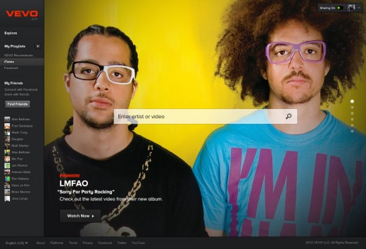 Homepage LMFAO 520x354 Vevo rolls out new bigger, smarter, faster video platform, and makes Facebook mandatory