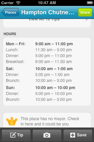 Hours mobile Foursquares new business hours feature show its direction is a threat to Yelp