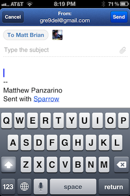 Photo Mar 14 8 19 38 PM Sparrow for iPhone is a beautiful, natural mail management experience with one major flaw