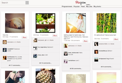 Pingram This site is Pinterest meets Instagram. Literally.