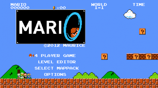 Mari0's title allows the player to choose from single or multiplayer mode, select maps, and adjust game options.
