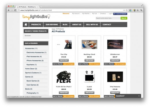 Screen Shot 2012 03 05 at 15.06.51 520x371 TinyLightbulbs: A store that only sells items crowdfunded through sites like Kickstarter