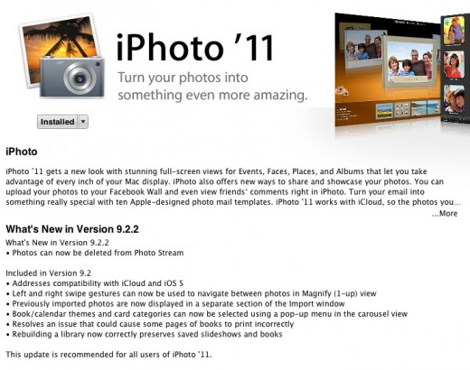 Screen Shot 2012 03 07 at 1.15.37 PM 520x410 Apple releases iPhoto 11 v. 9.2.2, allowing individual photos to be deleted from Photo Stream