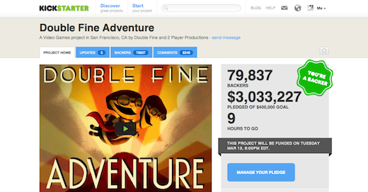 Screen Shot 2012 03 13 at 10.23.52 AM Kickstarter project Double Fine Adventure hits a record breaking $3 million