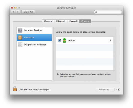 Screen Shot 2012 03 16 at 6.27.07 PM 520x422 OS X Mountain Lion DP 2 now asks permission before allowing apps to access your contacts