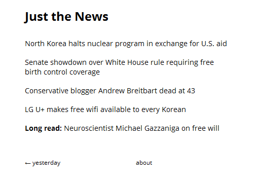 Screenshot 4 Just the News: A curated online news service that cuts out all the noise