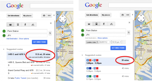 Time in Traffic Transit 520x278 Traffic estimates arrive on Google Maps, powered by your Android phone