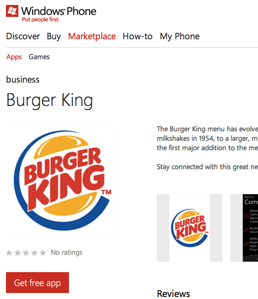 app free burger king Why the Windows Phone Marketplace is looking more like a slimy app cesspool every day