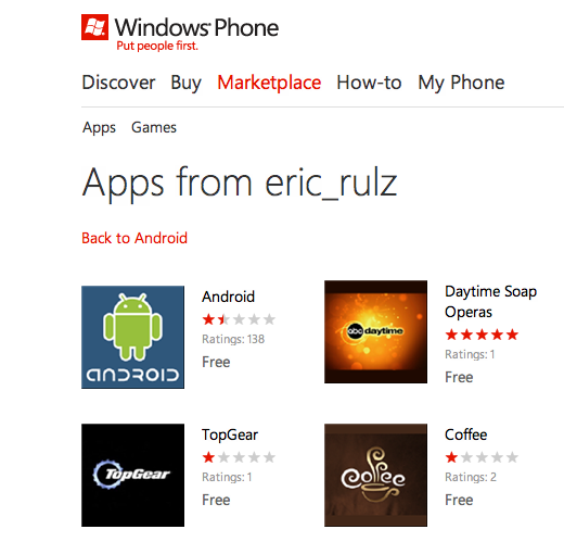 appslist dev 4 Why the Windows Phone Marketplace is looking more like a slimy app cesspool every day