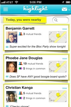 highlight1 Just in time for SXSW, hot location based networking app Highlight gets even more useful