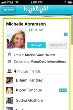 highlight4 Just in time for SXSW, hot location based networking app Highlight gets even more useful