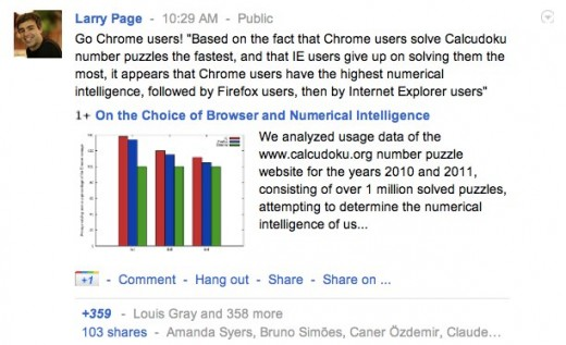 larrypagestoked 520x317 Googles CEO Larry Page is pretty stoked that Chrome users are smarter than IE users