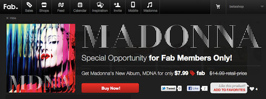 madonna Madonna leverages social networks and startup Fab.com for MDNA album push