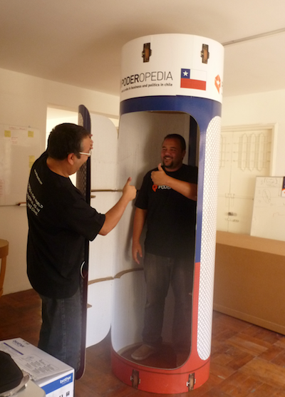 Poderopedia's Miguel Paz (CEO) and Rodrigo Guaiquil (COO) in a capsule - a reference to the rescued Chilean miners and to data mining