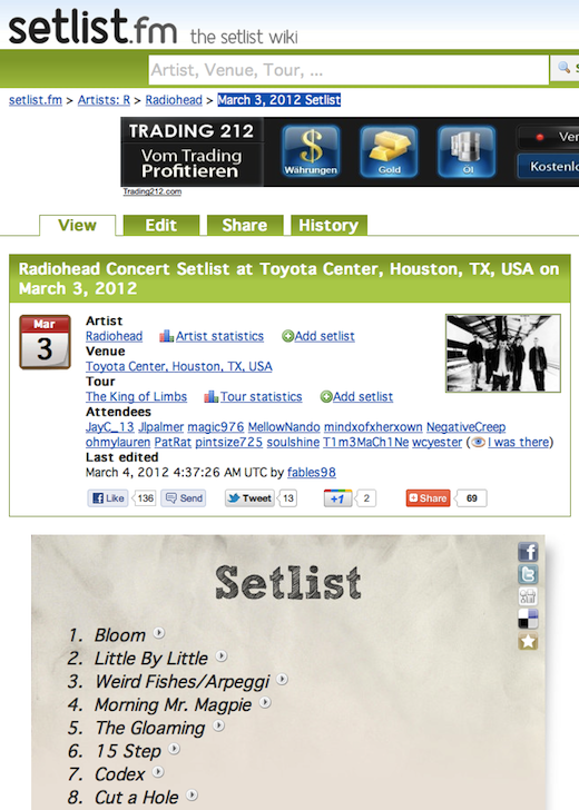 setlist Live Nation acquires wiki site Setlist.fm (and its database of 400,000 set lists)