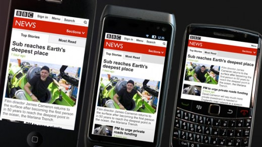 three phones 595 520x292 The BBC rolls out new responsive mobile site, tailoring news layout to suit multiple devices