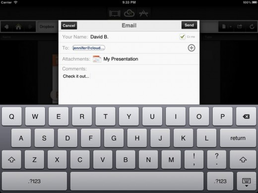 Email 520x390 Office for iPad CloudOn nears 1 million downloads, and launches v2.0 with Box.com support & email sharing