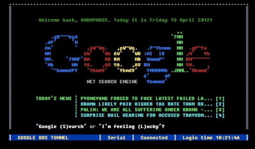Google BBS Terminal 1 520x305 Heres what Google wouldve looked like had it been a BBS in the 80s