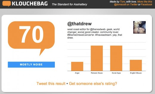 Klouchebag The Standard for Asshattery 2 520x316 Klouchebag is a wake up call for people who care about their Klout score