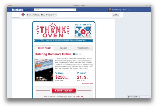 Screen Shot 2012 04 08 at 3.17.04 PM 520x355 Behind the scenes of Dominos Pizzas Think Oven Facebook campaign