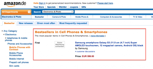 Screen Shot 2012 04 23 at 13.53.26 520x237 Samsungs Galaxy S III is already Amazon Germanys bestselling smartphone