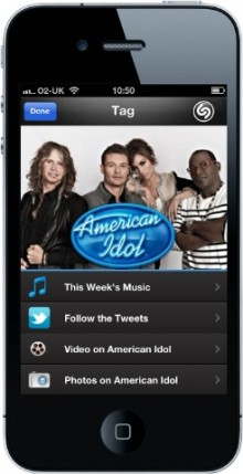 Shazam American Idol Tag Result 220x429 American Idol episodes are now Shazam enabled as the company broadens its scope