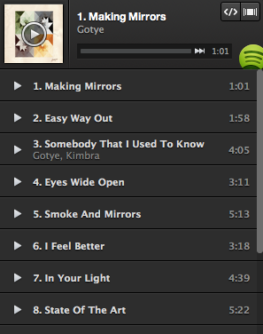 Spotify Play Button Gotye Playlist Spotify opens its music to the wider Web with new embeddable Play Button