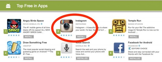 Top Free in Apps Android Apps on Google Play 3 520x201 Instagrams race to become the #1 App, period.