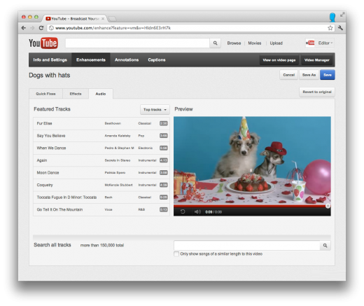 audio browse 520x437 YouTube updates its Audio Editing interface, adds featured tracks and mixing options