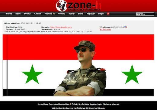 bashar Hackers take down official LinkedIn blog for spreading lies about Syria